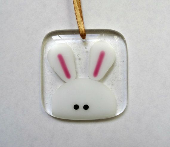 Easter bunny rabbit fused glass light catcher decoration easter easter bunny rabbit fused glass light catcher decoration easter gift for her handmade stained negle Choice Image