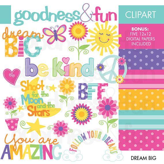 Buy 2 Get 1 Free Dream Big Tween Clipart Digital Tween Clipart Instant Download On Etsy 5 00 Clip Art Digital Paper Digital Clip Art