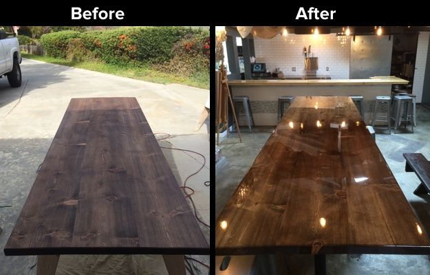 Stained Pine Table with UltraClear Epoxy (With images ...