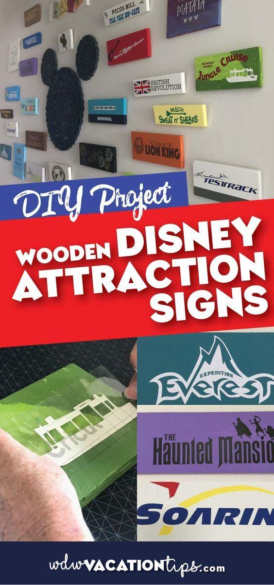 DIY Wooden Disney Attraction Signs