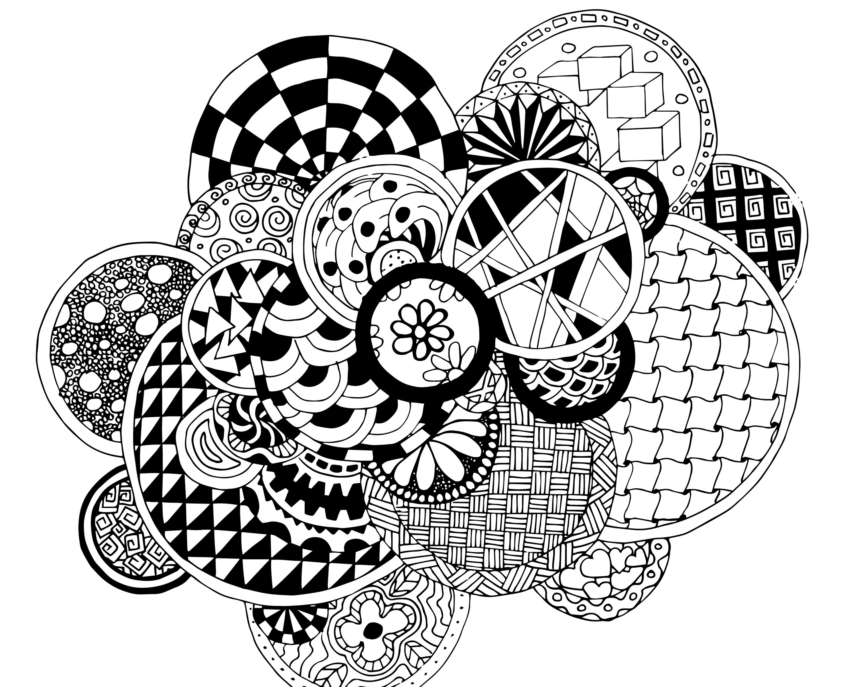 Free Circles Zen Tangle Doodles Adult Coloring Page Free Adult