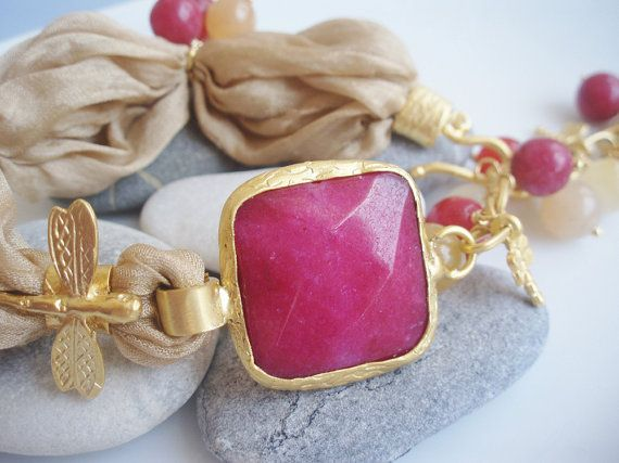maroon gold turkish silk bracelet maroon jade and gold caramel silk