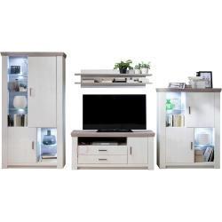 Wohnwand - weiß - 365 cm - 210 cm - 55 cm - Wohnwände > Anbauwände Möbel Kraft