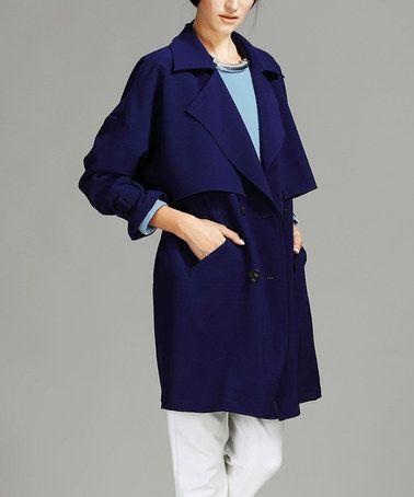 Dark Blue Trench Coat #zulily #zulilyfinds
