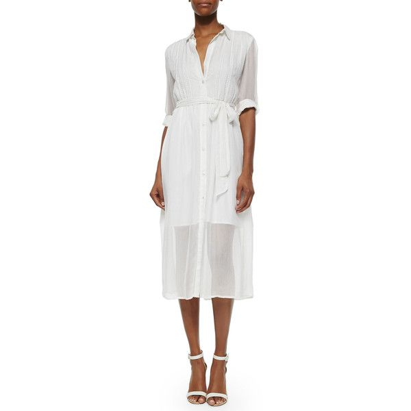 Alice + Olivia Maia Belted Voile Shirtdress ($238) ❤ liked on Polyvore featuring dresses, ivory, alice+olivia dresses, three quarter sleeve dress, ivory dress, 3/4 sleeve white dress and white embroidered dress