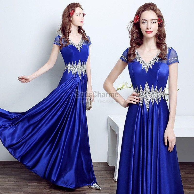Robe soiree en bleu