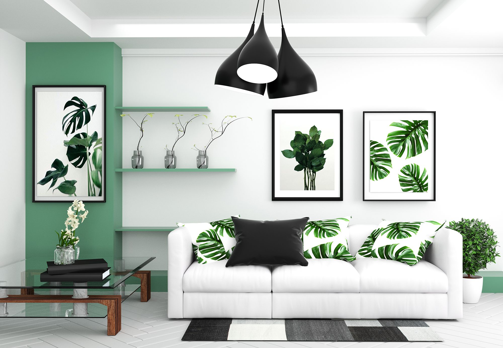 Living room interior - room modern tropical style with composition