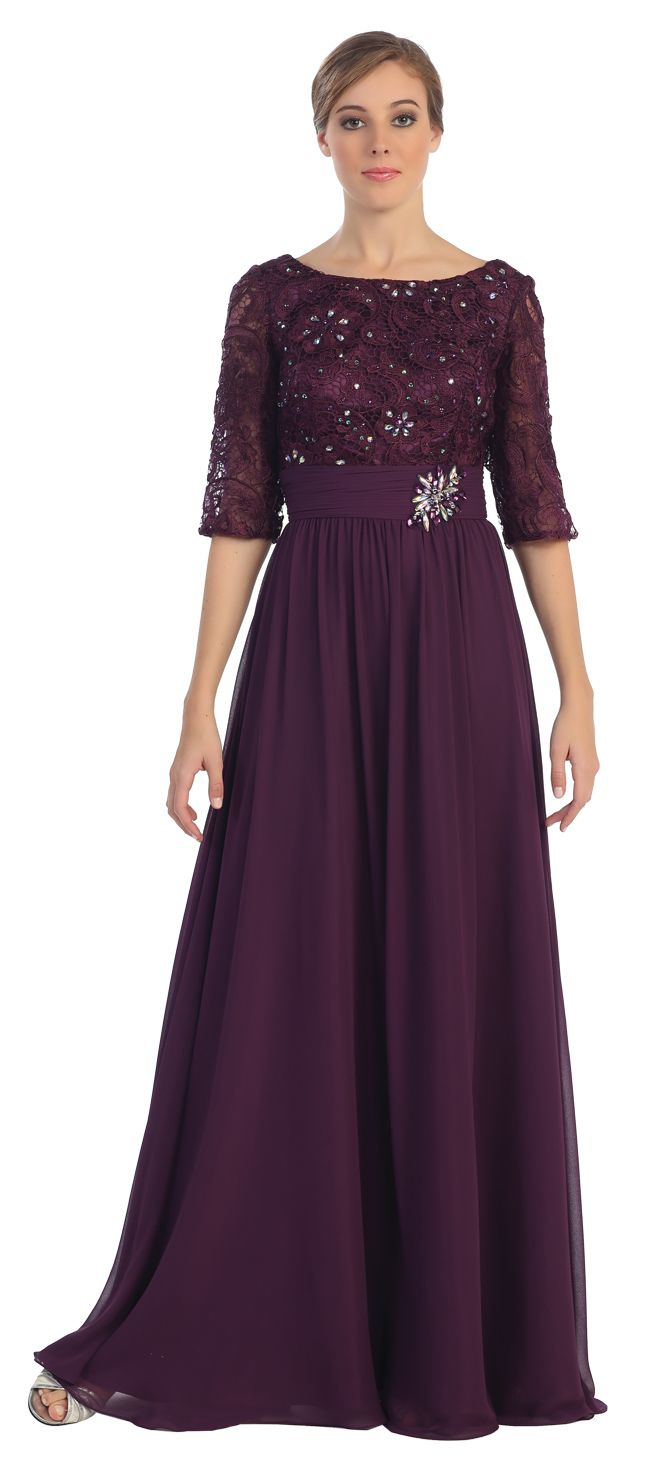 Long formal a line plum dress lace mid length sleeves wedding