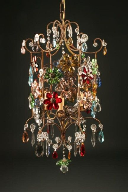 Chandelier With Colored Venetian Gl