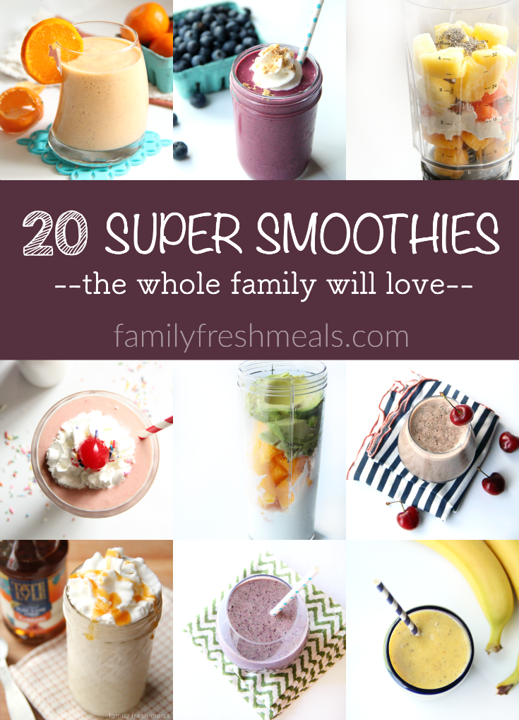 Super Smoothies These 20 Super Smoothies are healthy, tasty, quick to fix. And on top of that, they're so versatile. They make an easy breakfast to start the morning!These 20 Super Smoothies are healthy, tasty, quick to fix. And on top of that, they're so versatile. They make an easy breakfast to start the morning!
