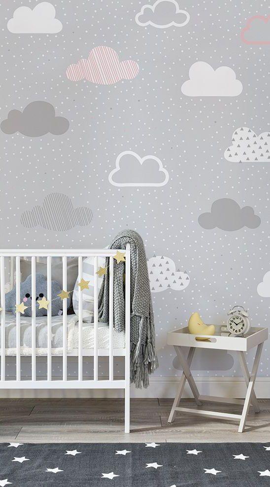 Rosa und graue Wolken Muster bemalte Tapete | Kleine wolke, einfache ...