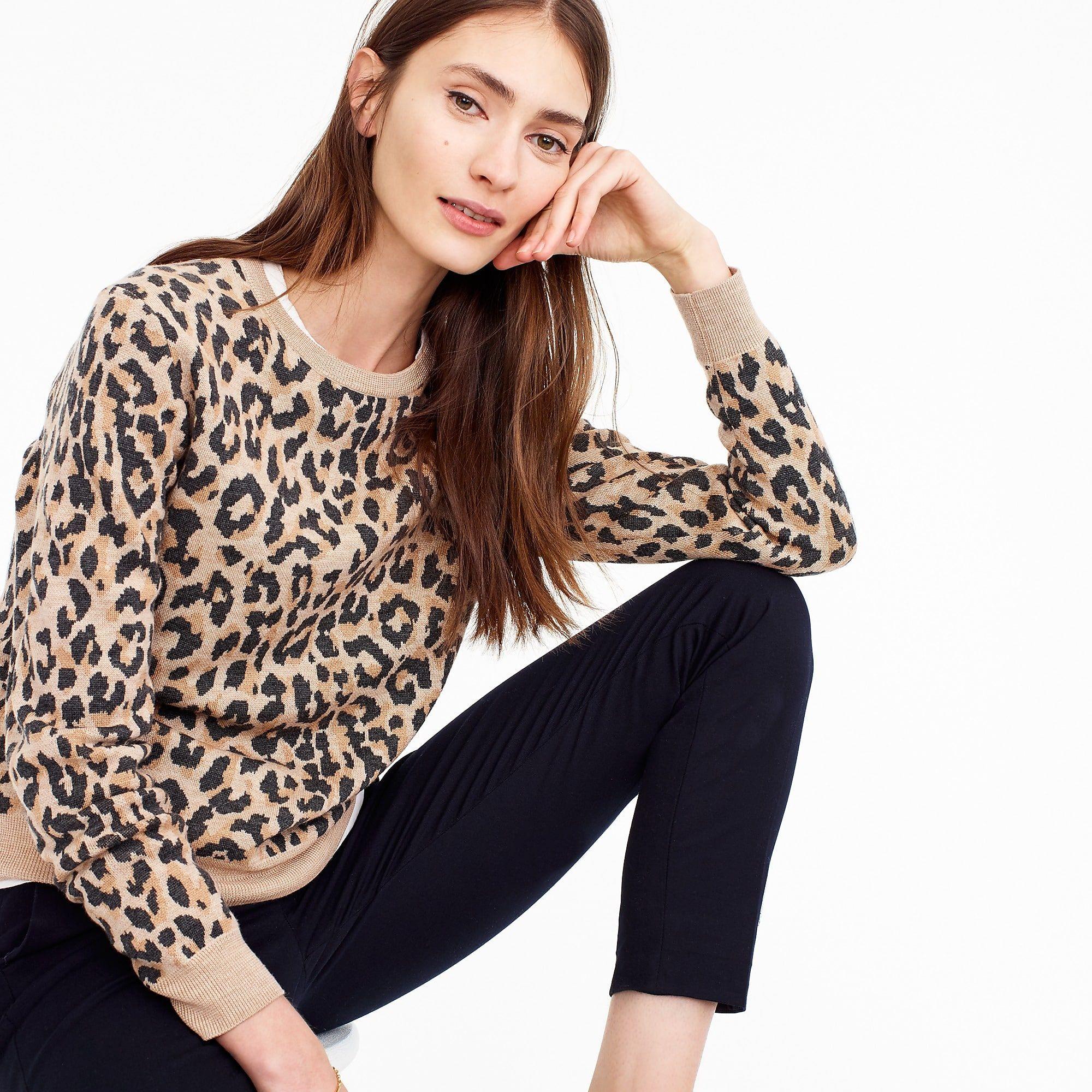 f8b696551ea7 Merino wool crewneck sweatshirt in leopard - Women's Sweaters | J.Crew