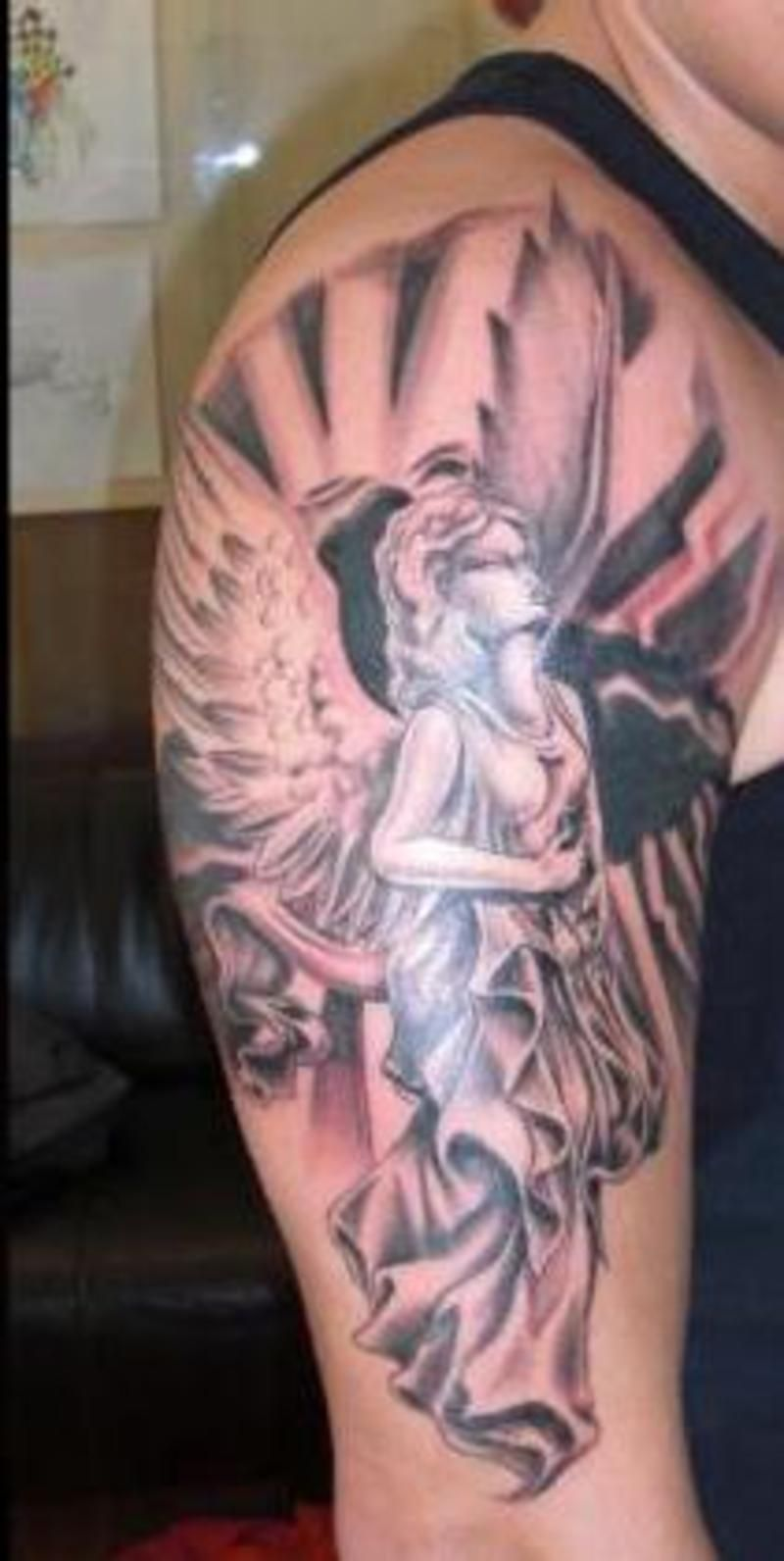Guardian Angel With Shield Tattoo Mens Arms   Full and ...   Guardian Angels Tattoos Sleeve