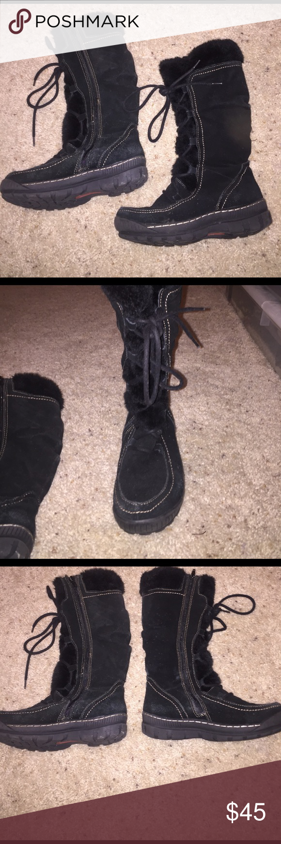 BareTraps Snowboots BareTraps stay dry system snow boots. Do not live where it snows anymore so no longer need these boots. Zip up and front ties to make shoes nice and snug! Faux fix inside to keep feet warm! No trades or holds. BareTraps Shoes Winter & Rain Boots