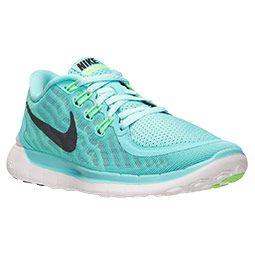 Women's Nike Free 5.0 Running Shoes in Light Aqua/Light Retro/Black/Green