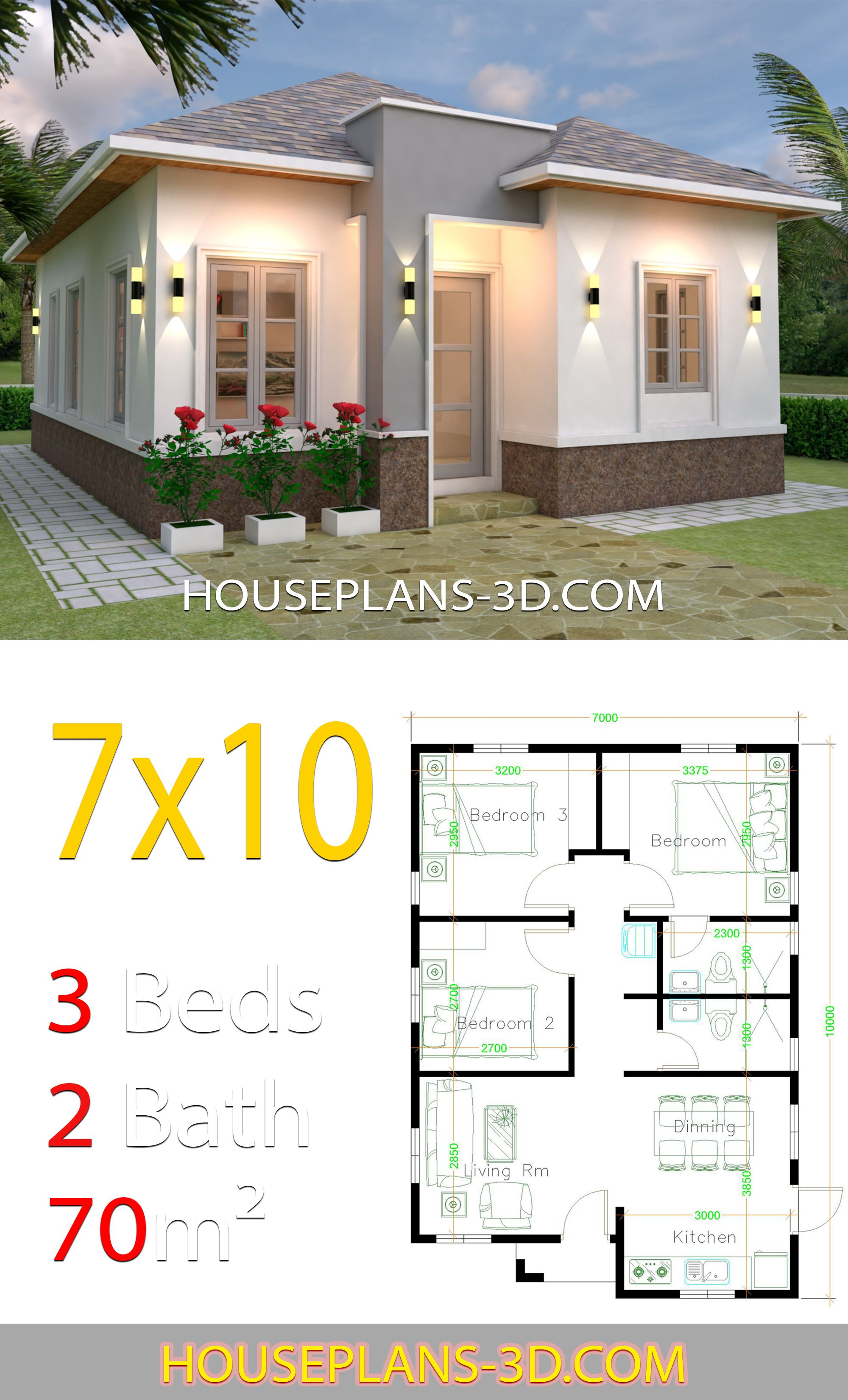 House Design 7x10 With 3 Bedrooms Hip Roof House Plans 3d Architectural House Plans Flat Roof House Small House Design Plans
