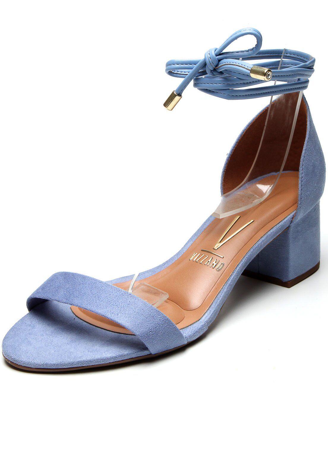 Sandália amarração azul