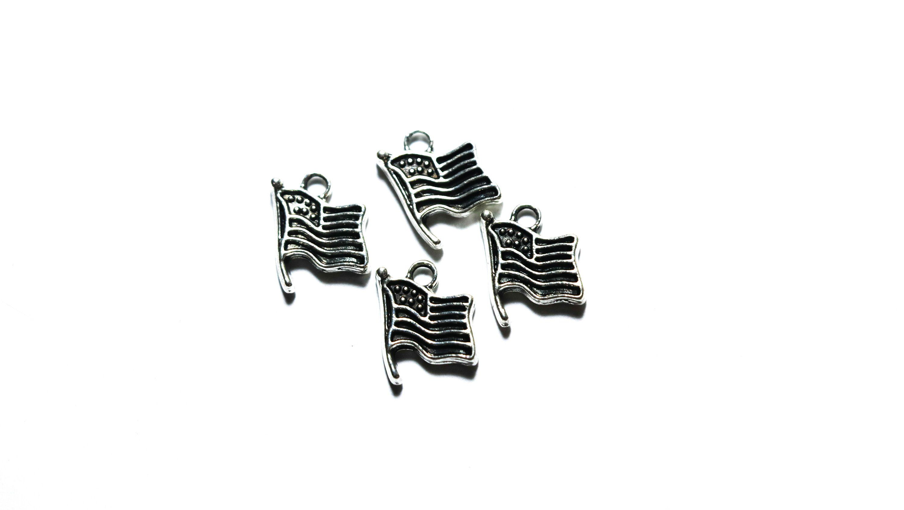 Flag Tibetan Silver Flag Charm Charms Findings Jewelry Supply Diy Pendant American Flag American Flag Pendant Flag Charm Jewelry Supplies Jewelry Making Jewelry