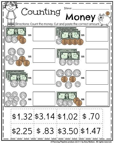 Money Worksheets For 2nd Grade Count Cut And Paste Future