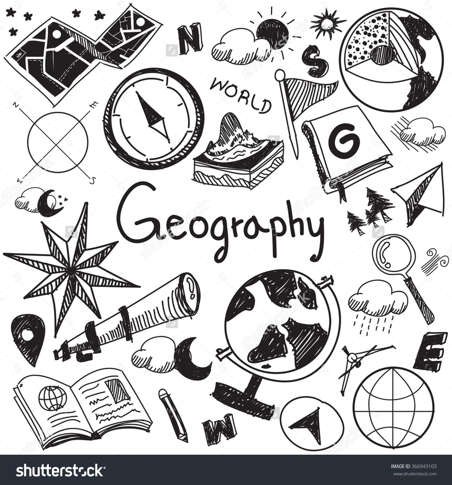 Geography And Geology Education Subject Handwriting Doodle Icon Of Earth Exploration And Map Design Sign And