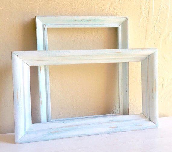 Thick White And Light Teal Turquoise Painted Wood Picture Frames 8 X