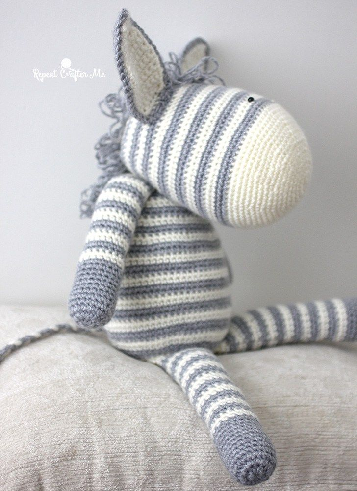 Crochet Zebra based on Yarnspirations Knit Zebra (Repeat Crafter Me ...