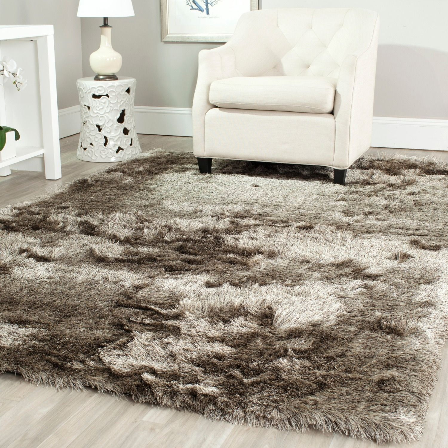 Safavieh Handmade Silken Paris Shag Sable Brown Polyester Area Rug (4u0027 X 6u0027