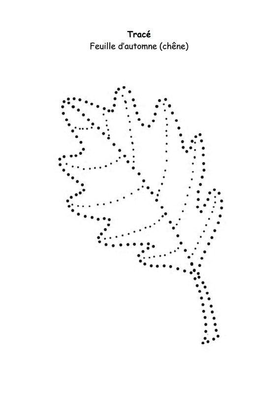 L 39 automne feuille de ch ne en pointill s automne pinterest automne maternelle et herbier - Activite automne maternelle ...