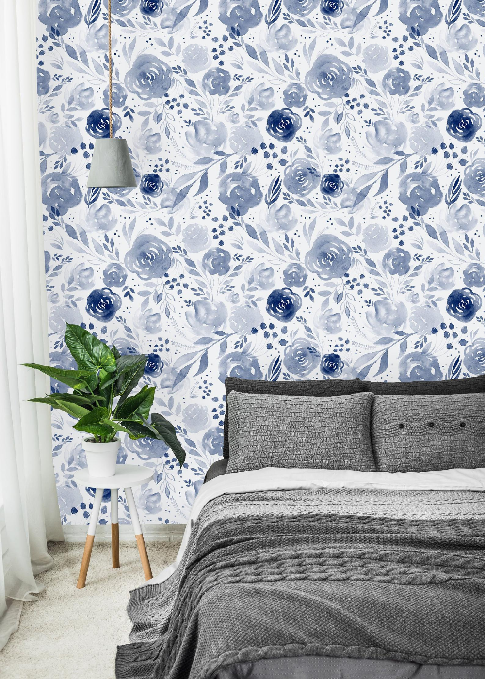 Blue Watercolor Flowers Background Removable Wallpaper