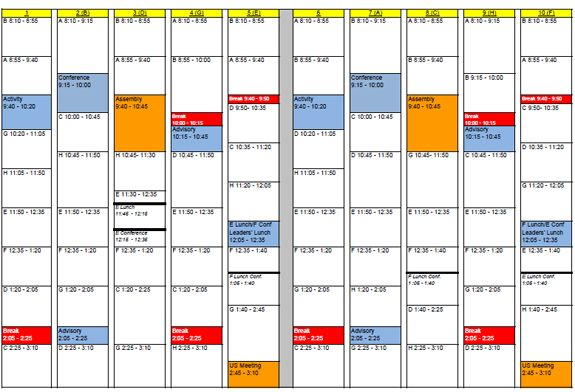 Potomac School Campus Life » Academics » Upper School » Academic - class timetable