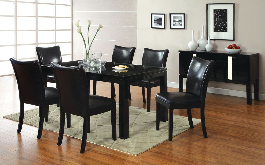 A M B Furniture Design Dining Room Small Dinette Sets Black Finish 7 Pc Lamia I Contemporary Style High Gloss Wood