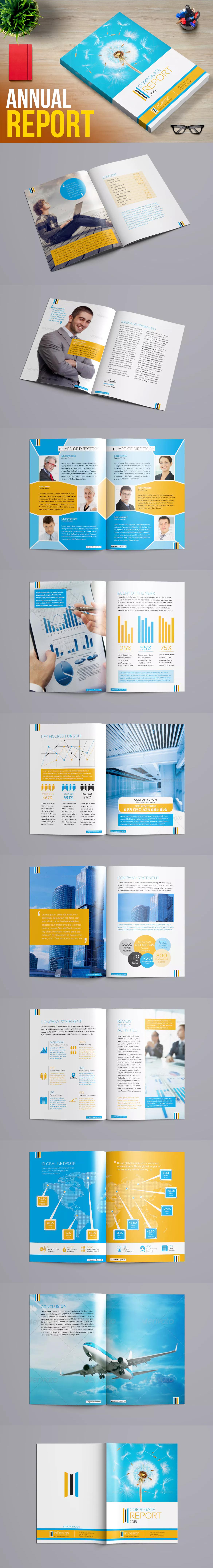 Corporate Annual Report Brochure Template InDesign INDD | Design ...
