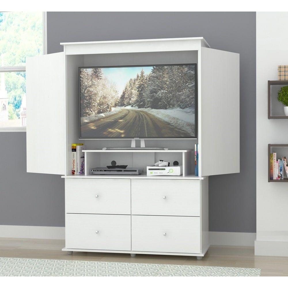 Inval Larcinia White Audio Video Armoire Cabinet   Overstock.com ...