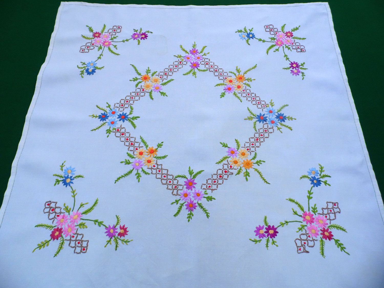 Outline embroidery designs for tablecloth - Vintage Square Ecru Linen Tablecloth With Flowers Embroidery Hand Embroidered Floral Table Cloth Tray Cloth Purple Colors