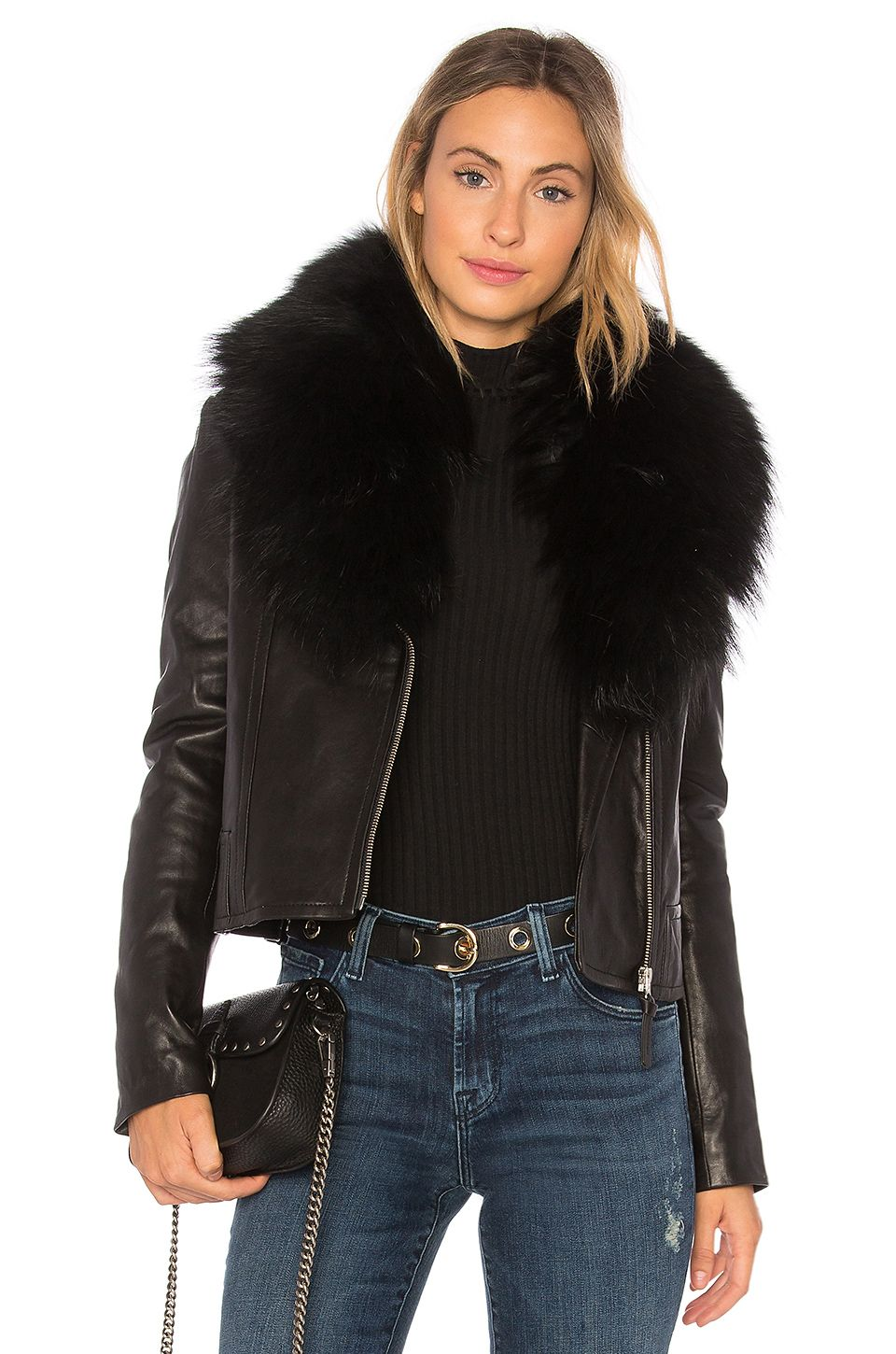 Mackage Yoana Leather Jacket With Raccoon Fur in Black