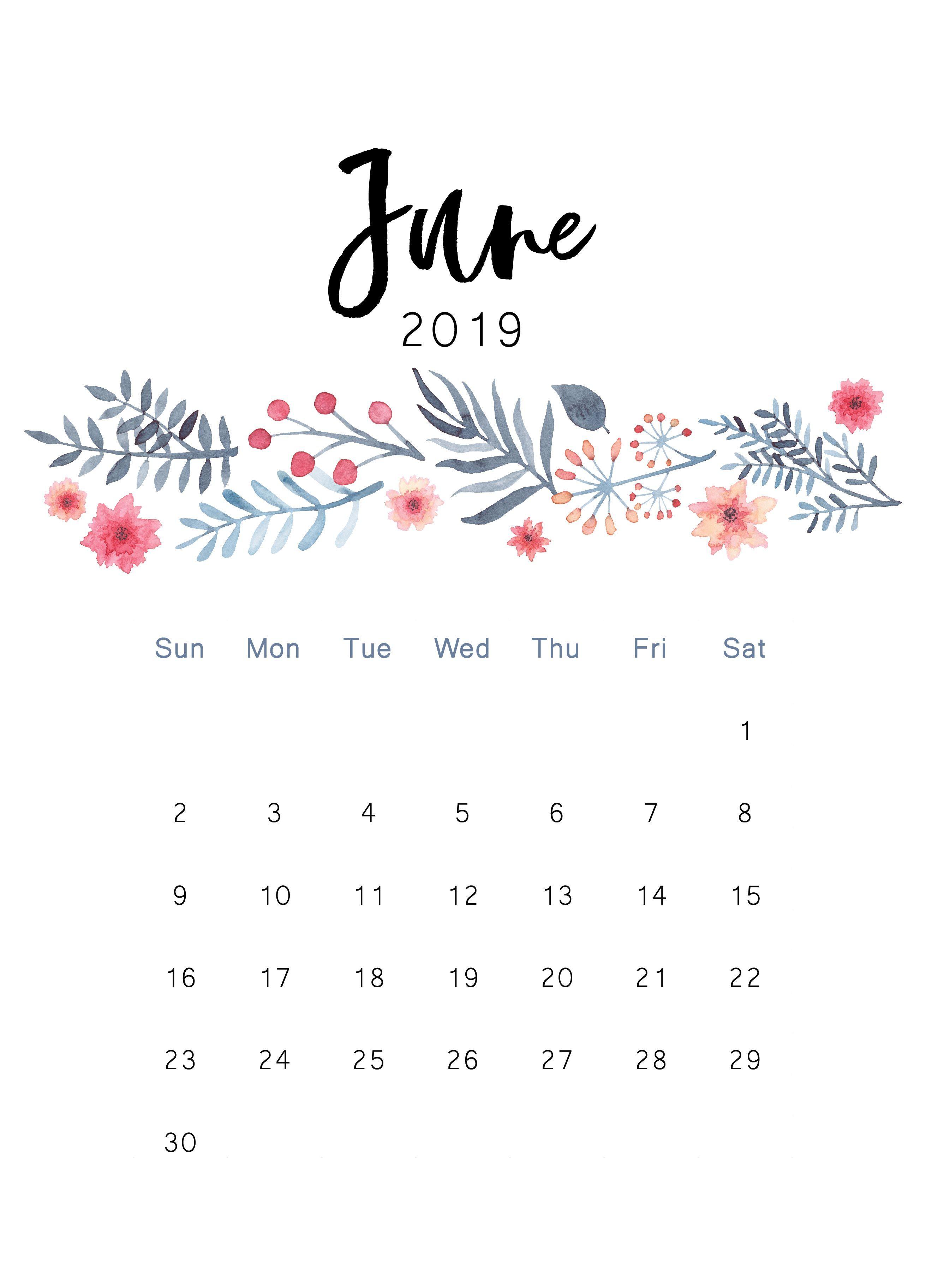 Free 2019 Printable Calendar The Cactus Creative June