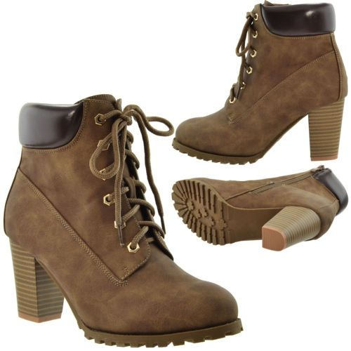 Women S Ankle Boots Lace Up Booties Chunky Stacked High Heel Rugged Padded Shoes