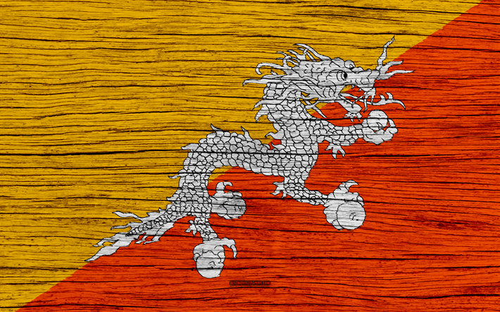 Download Wallpapers Flag Of Butan 4k Asia Wooden Texture