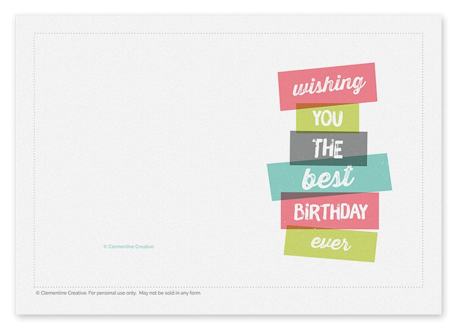 Free Printable Birthday Card Happy Birthday to You Pinterest - free printable birthday card template