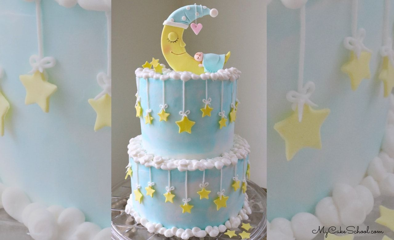 Baby and moon cake a video tutorial shower cakes