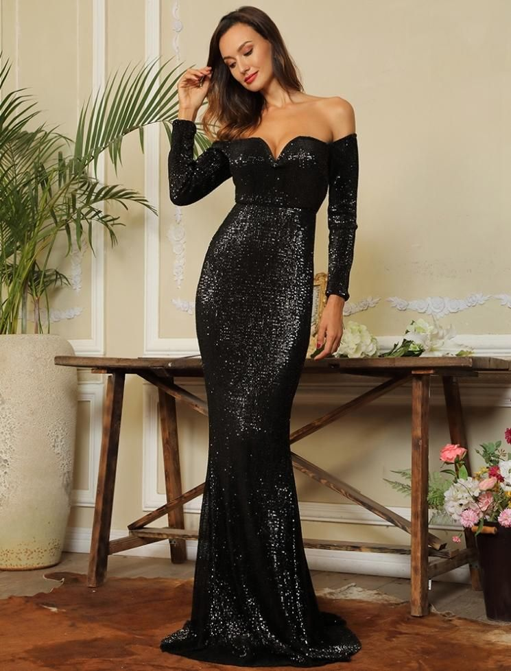 042e780a2b6 Black Sequined Mermaid Formal Evening off-the-shoulder Maxi Long Sleeve  Dress