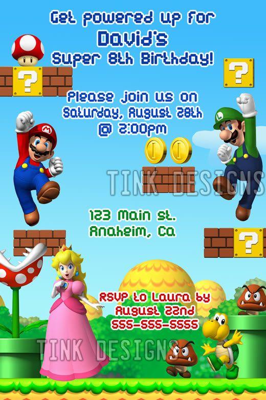 Super Mario Bros Luiji Invitations Birthday Party Favor In 2018