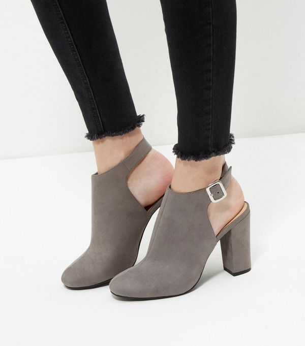 Grey Suedette Sling Back Block Heels  | New Look