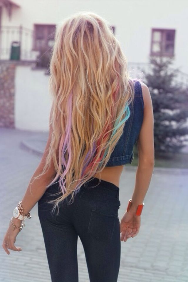 Long Blonde Colored Streaks Rainbow Fashion Pinterest Color