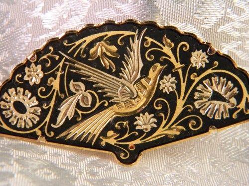 VINTAGE DAMASCENE BROOCH/PIN fan with bird TOLEDO spain ...