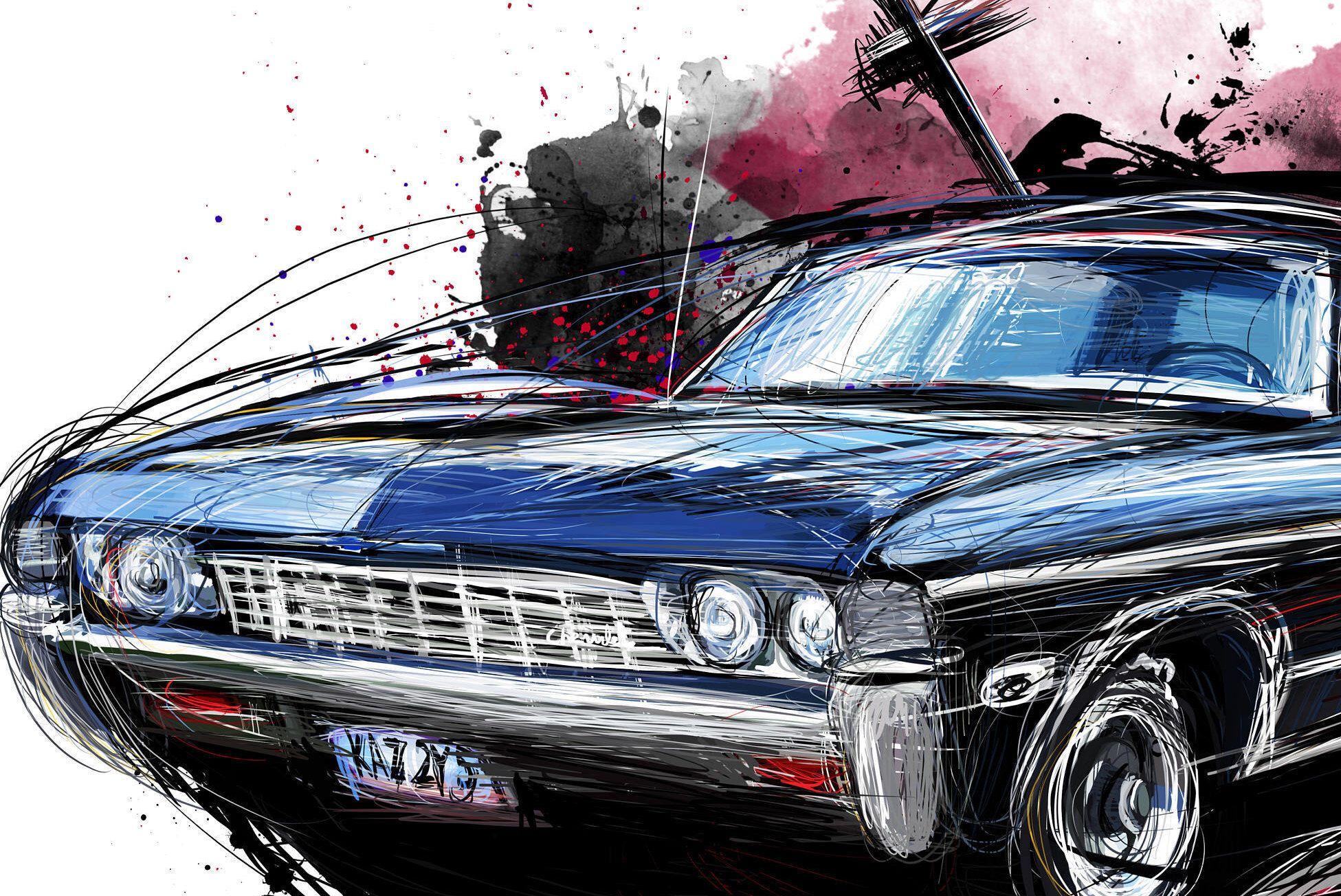 Supernatural Baby 1967 Chevy Impala Wood Art Panel 11x17