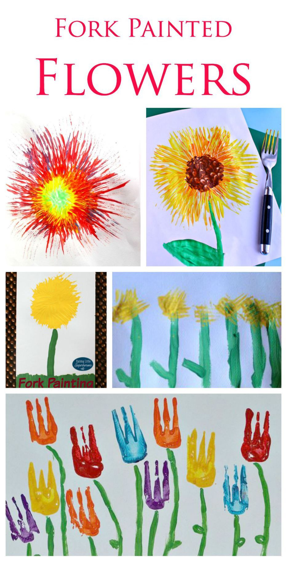 Fork Painted Flowers A Great Little Painting Technique For Kids