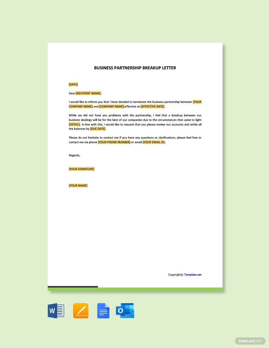 Business Partnership Breakup Letter Template Free Pdf Word Apple Pages Google Docs Letter Templates Letter Templates Free Lettering