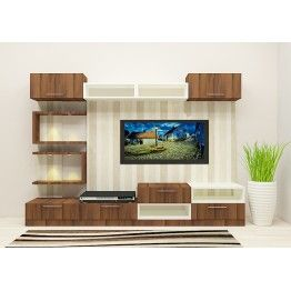 Delicieux Modular TV Unit With Dual Color Combination Adds Grace To The Entire Space.  The Wallpaper Fixed To The Wall Captures The Beauty Of The TV Unit.