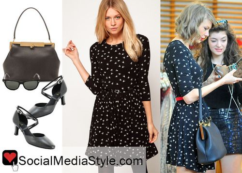 You can buy Taylor Swift's hummingbird print dress here: http://rstyle.me/n/fvppf6fbn and her bag here: http://rstyle.me/n/fvprt6fbn